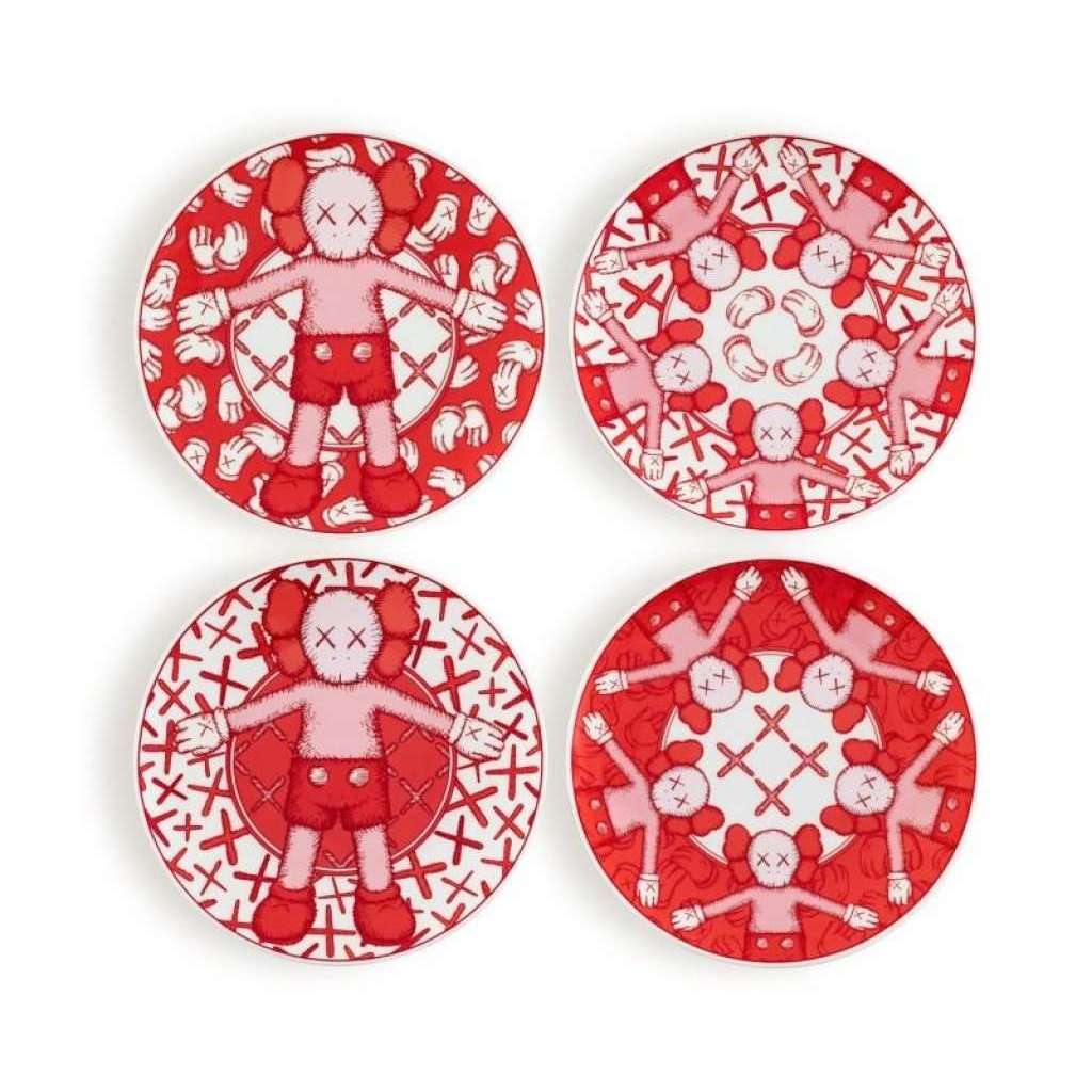 KAWS, Limited Ceramic Plate Set - Red (Set of 4), 2019 | Lougher Contemporary