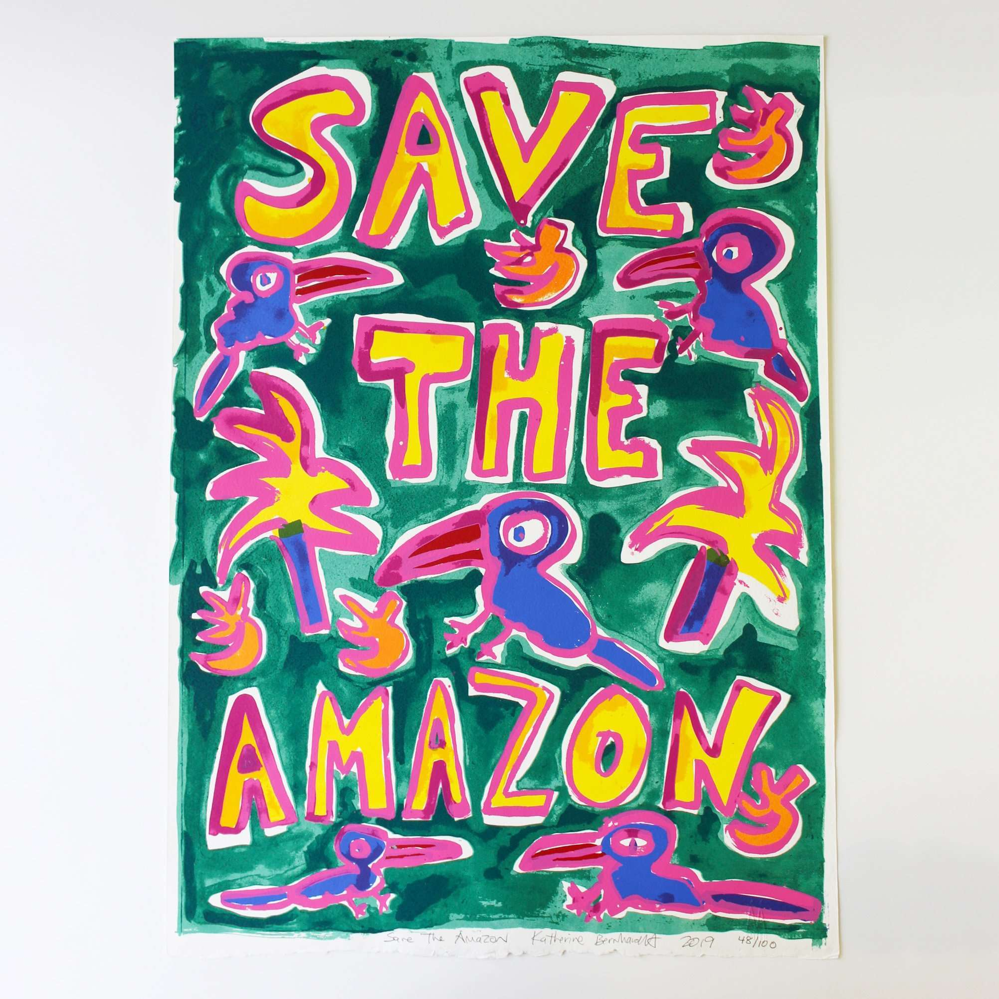 Katherine Bernhardt, Save The Amazon (Green), 2019 | Lougher Contemporary