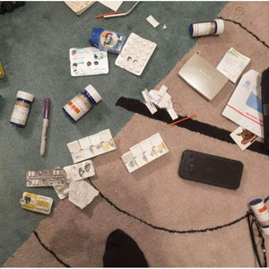 Nan Goldin, Aperture Drugs on the Rug. New York City, USA, 2016 | Lougher Contemporary