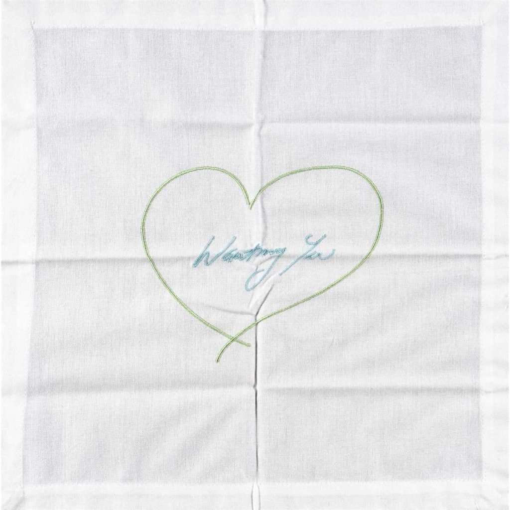 Tracey Emin, Wanting You - Napkin (Green & Blue), 2014 | Lougher Contemporary
