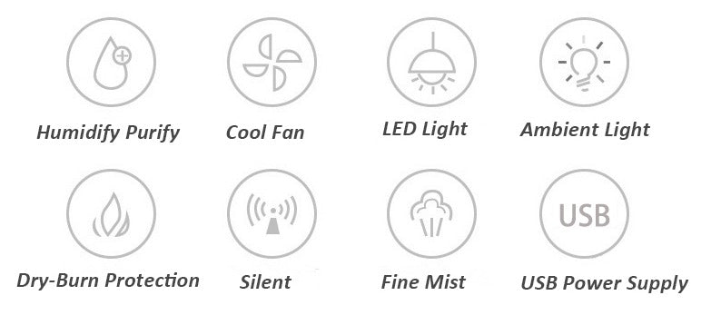 USB HUMIDIFIER GLASS Smart Features