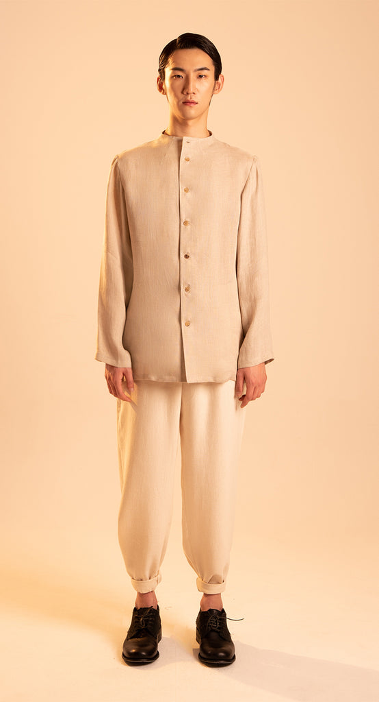 High-neck Linen Shirt BE