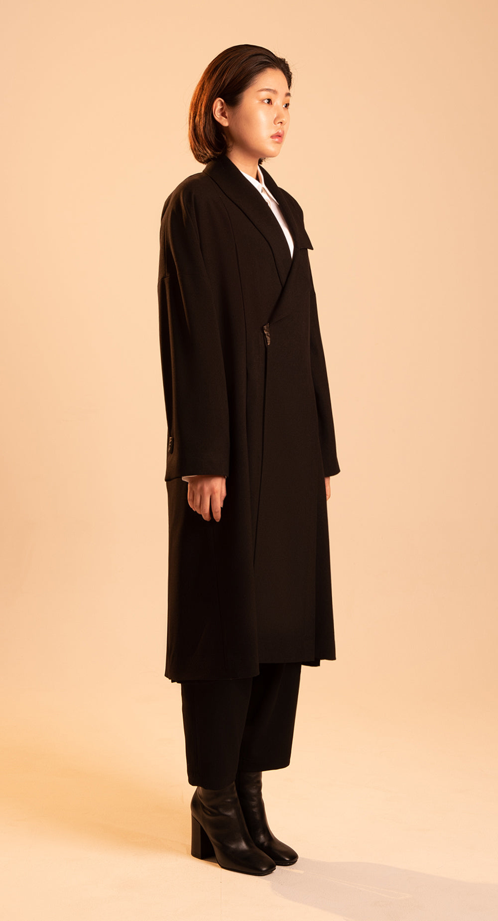 Women Unbalanced Collar Over-coat BK