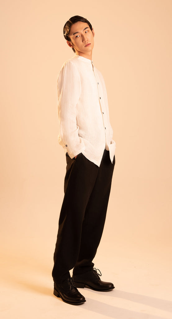 High-neck Linen Shirt IV