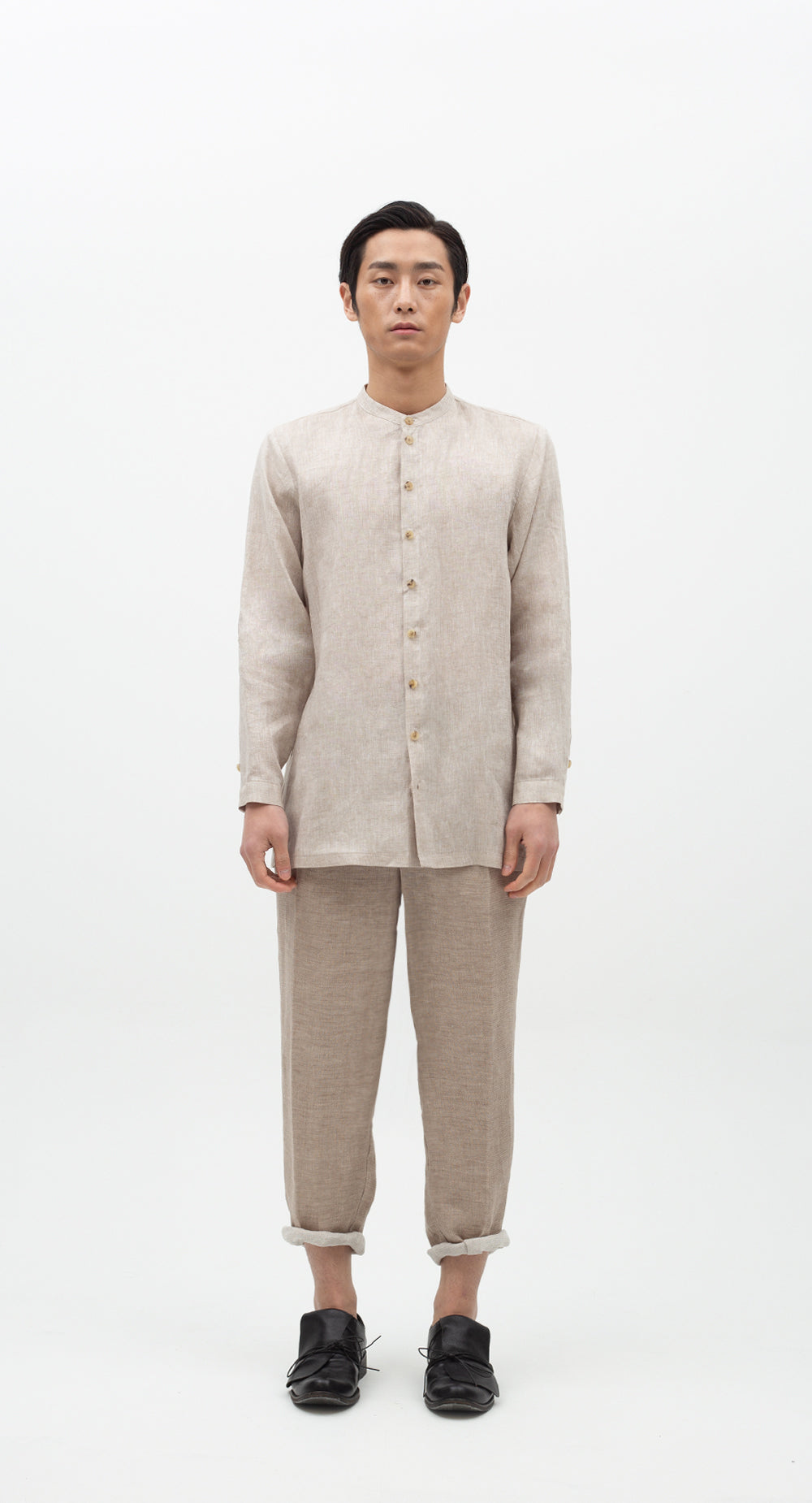 China Collar Linen Shirt BE