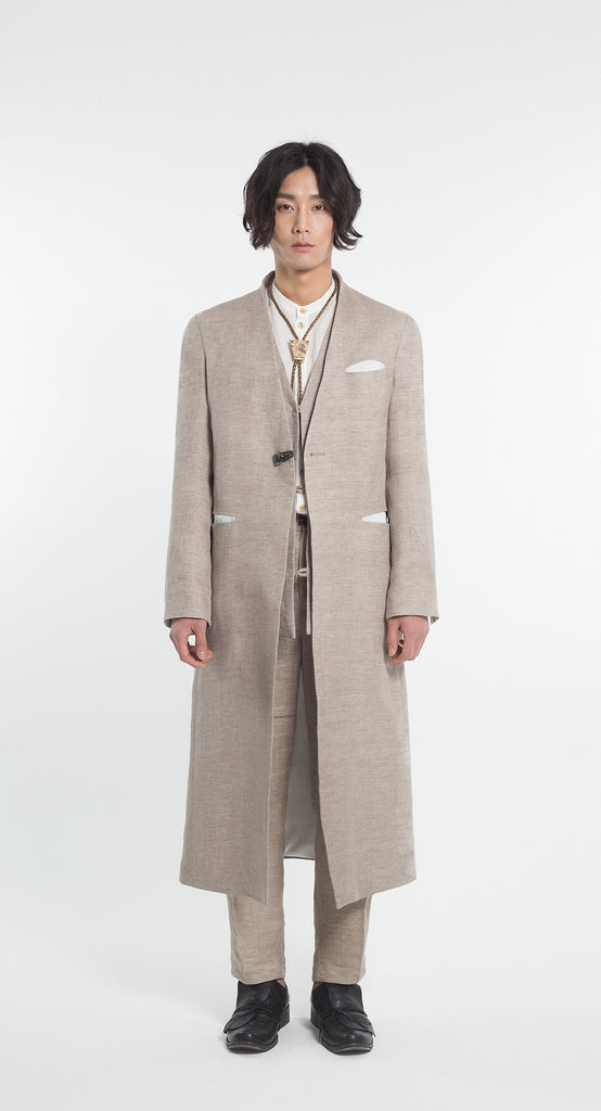 Collarless Linen Long Coat BE