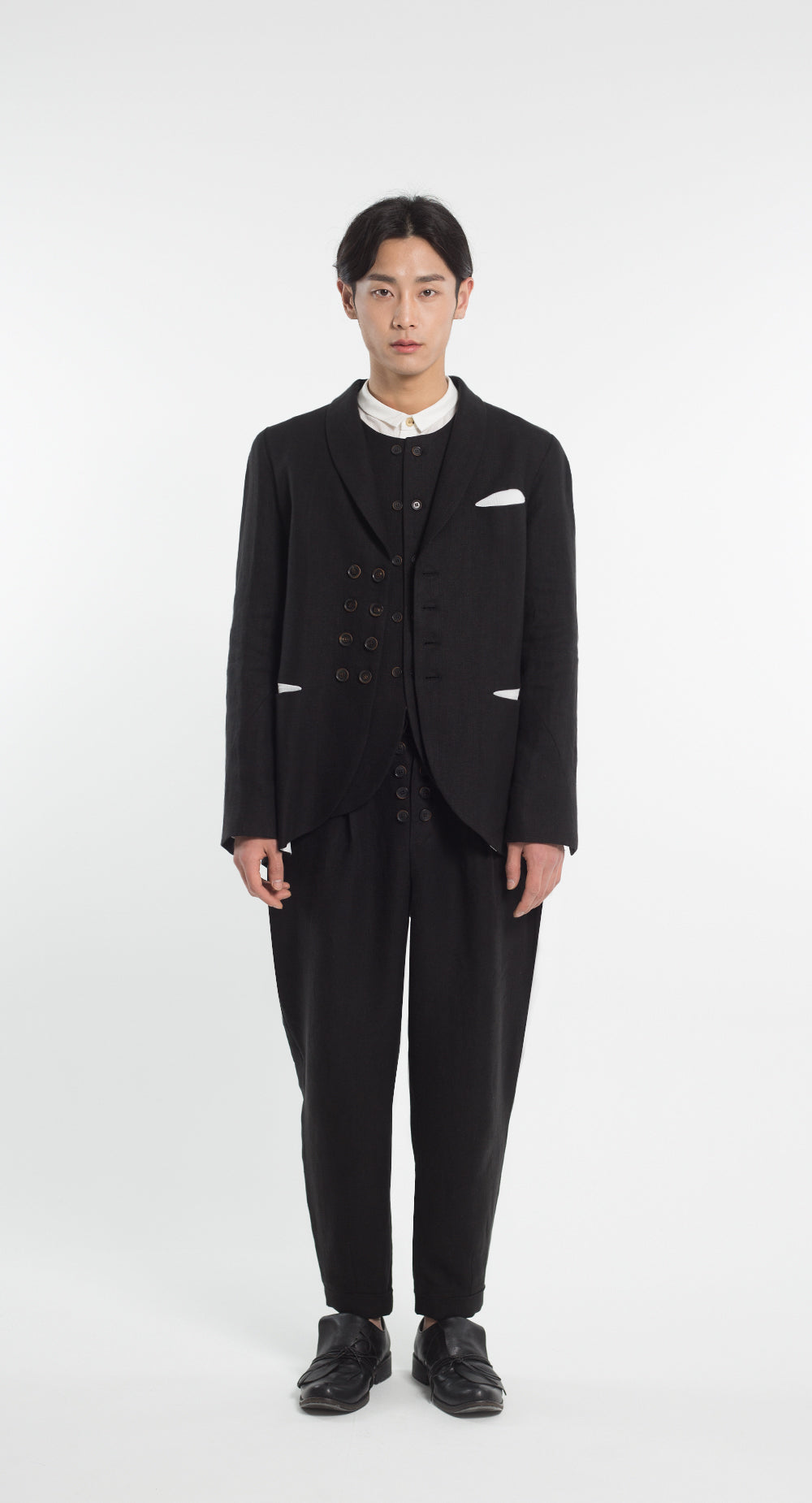 Shawl Collar Double Button Linen Jacket BK