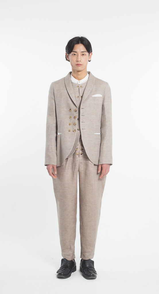 Shawl Collar Double Button Linen Jacket BE