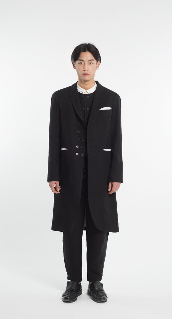 Shawl Collar Double Button Linen Coat BK