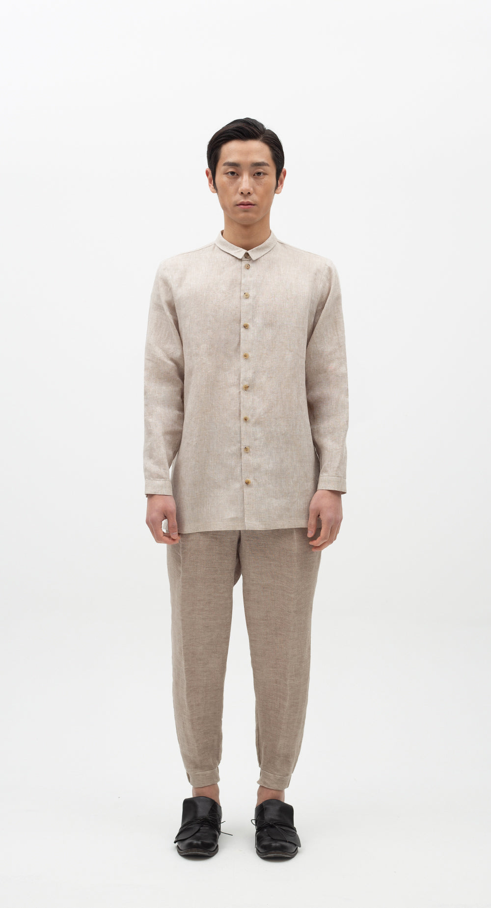 Minimal Collar Linen Shirt BE