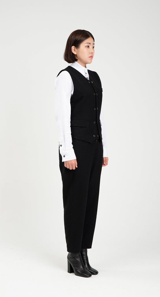 Women Slim Fit WOOL Vest BK