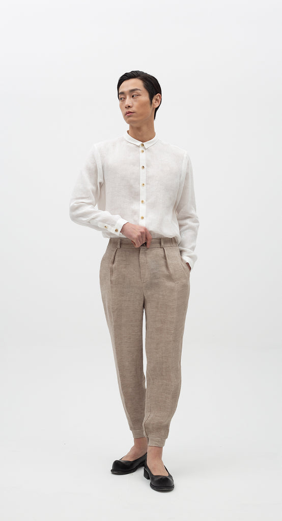 One-Tuck Jogger Linen Pants BE