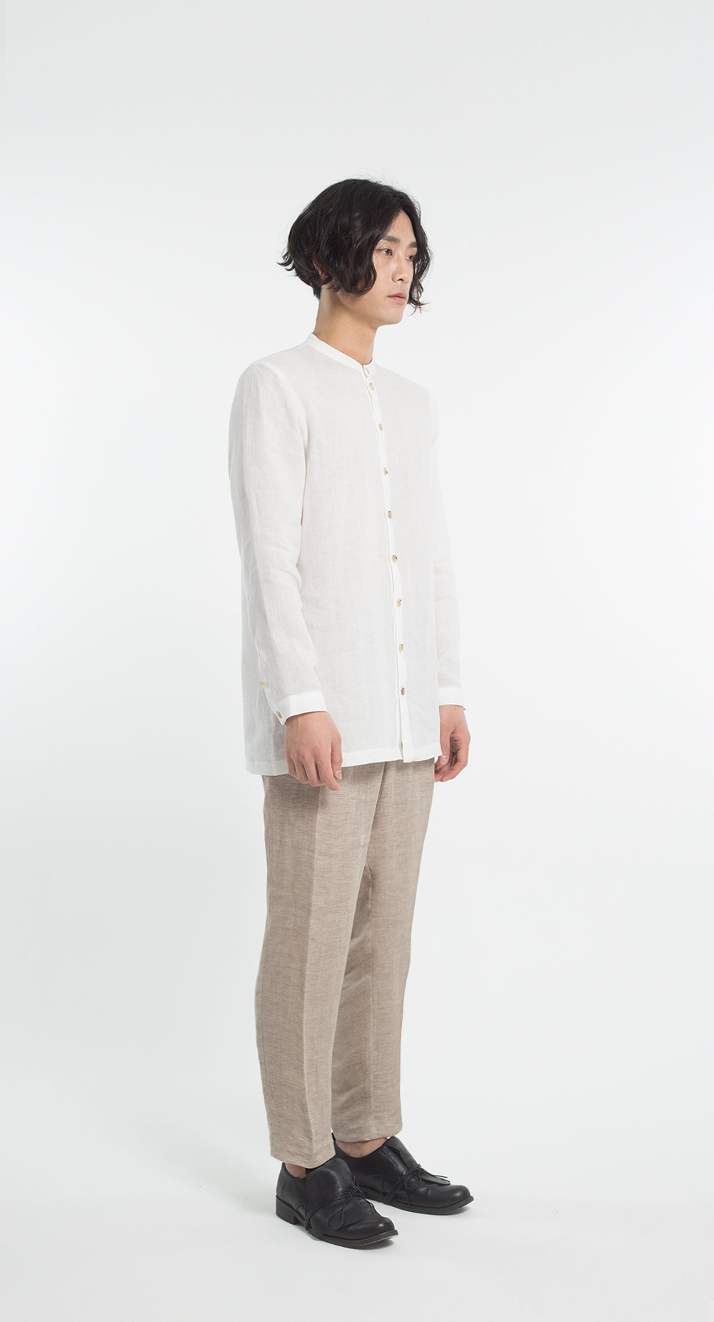 China Collar Linen Shirt WH
