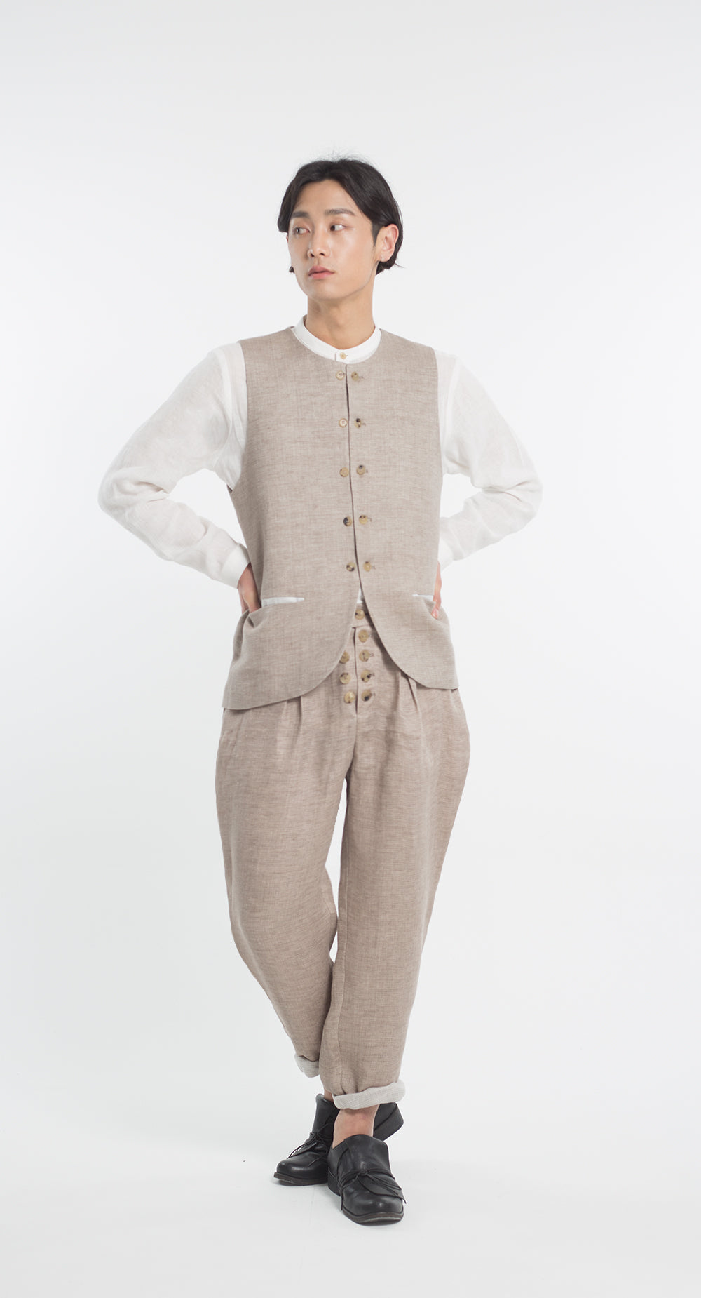 Double Button Linen Vest BE