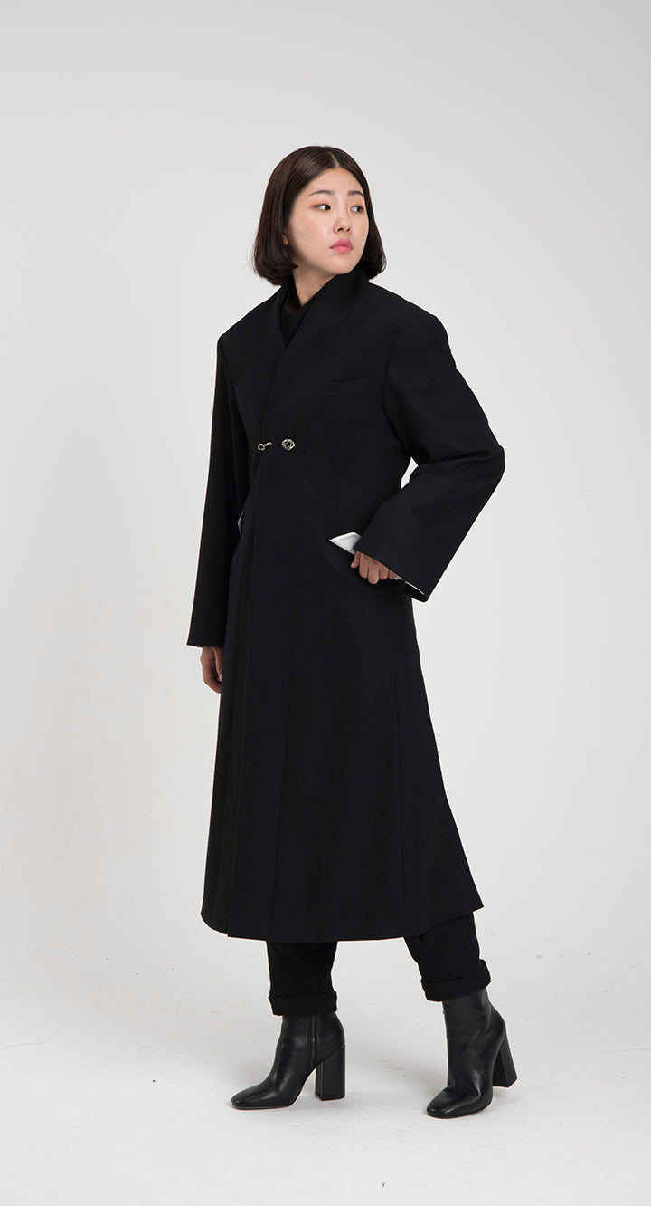 Women Oriental WOOL Long-coat BK