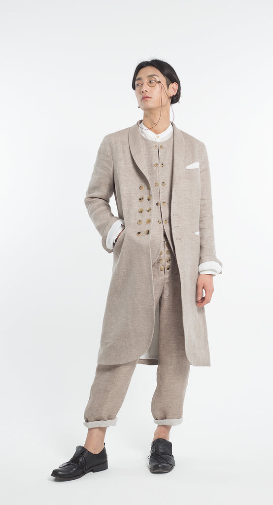 Shawl Collar Double Button Linen Coat BE
