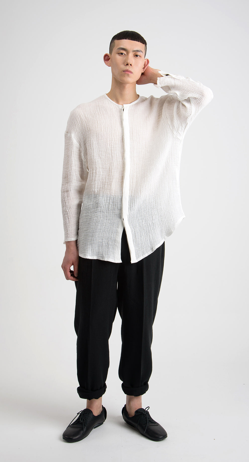 Hidden Button Linen Shirt WH