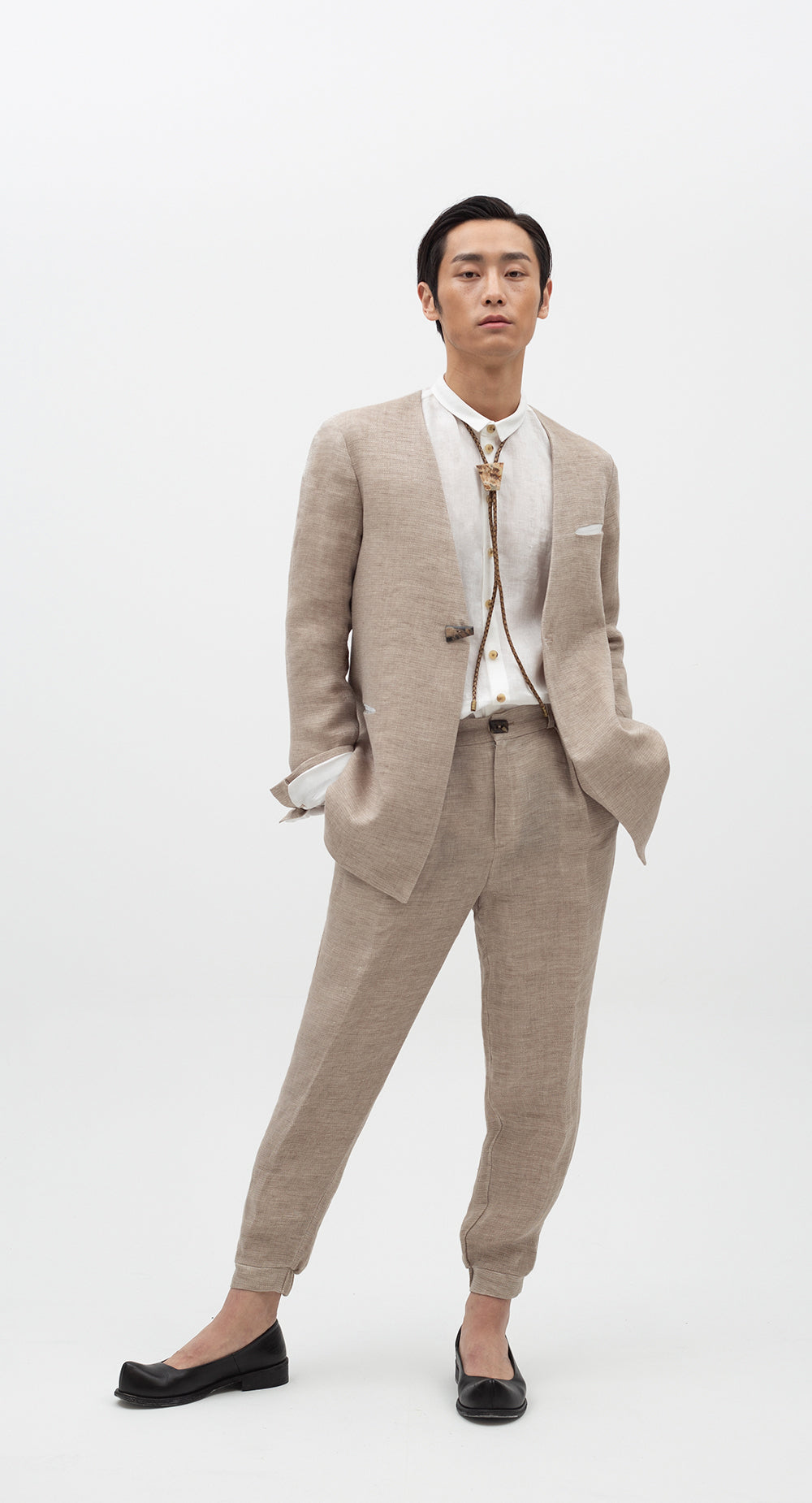 Collarless Linen Jacket BE