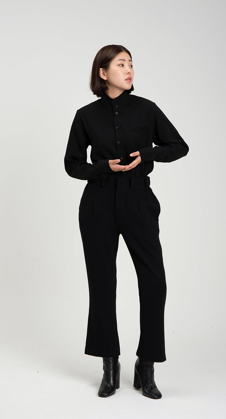 Women Slim Fit WOOL Slacks BK