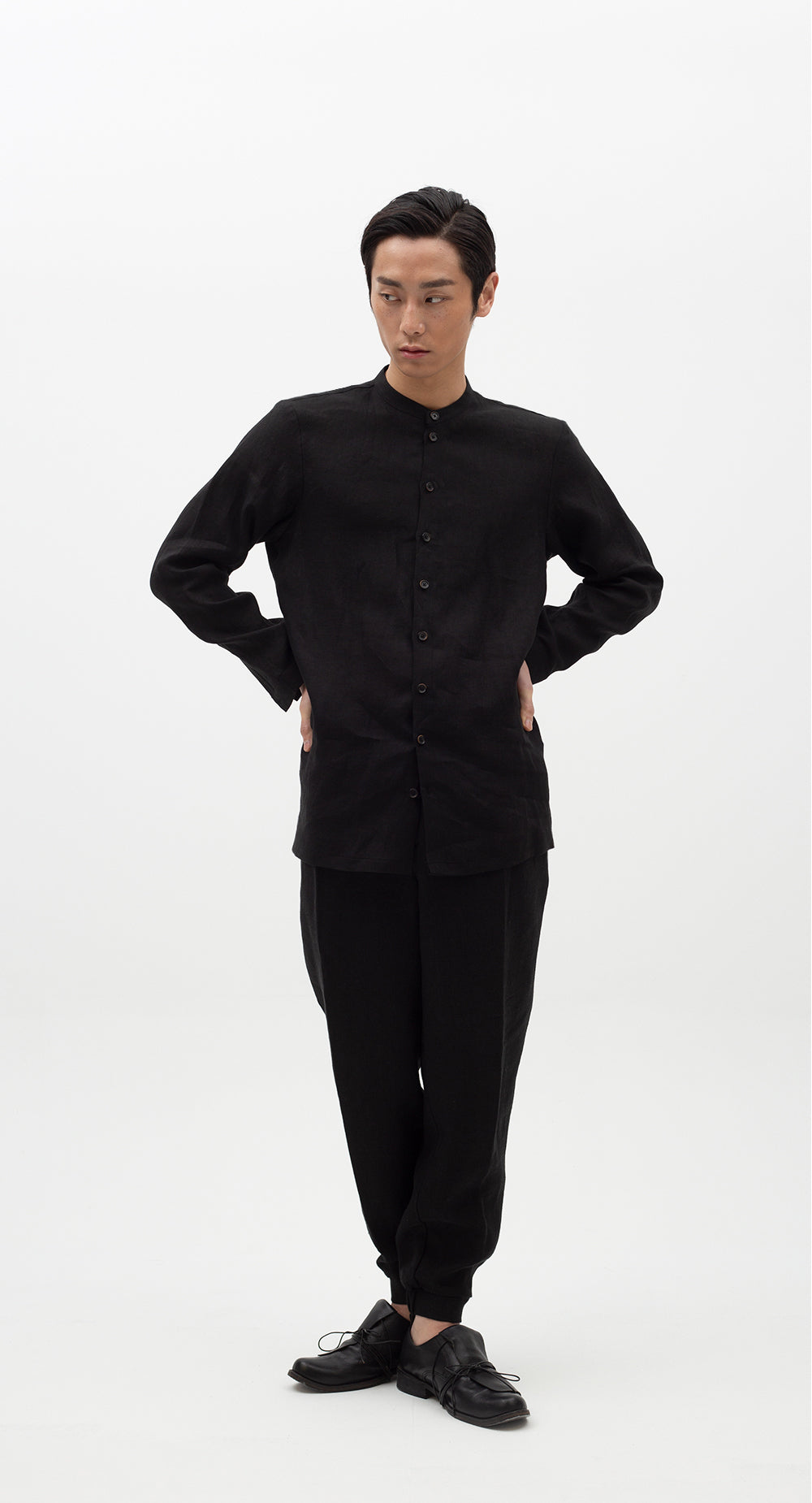 China Collar Linen Shirt BK