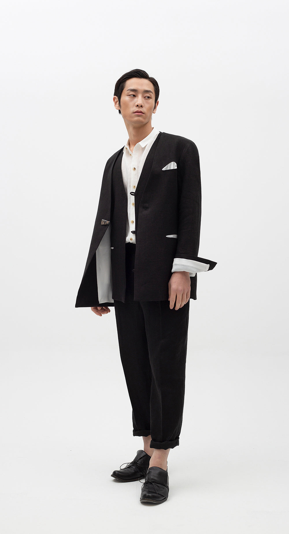 Collarless Linen Jacket BK