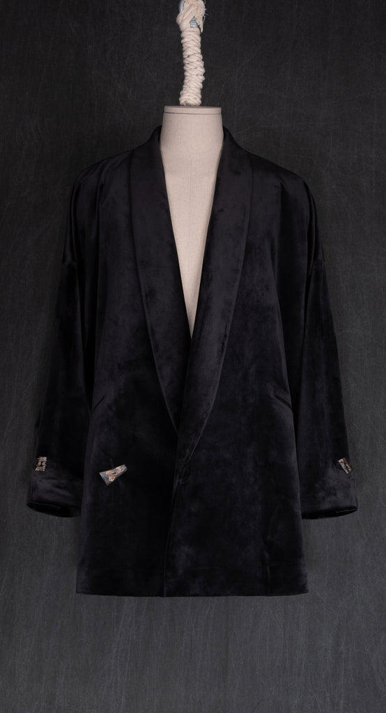 Shawl Collar Velvet Jacket BK