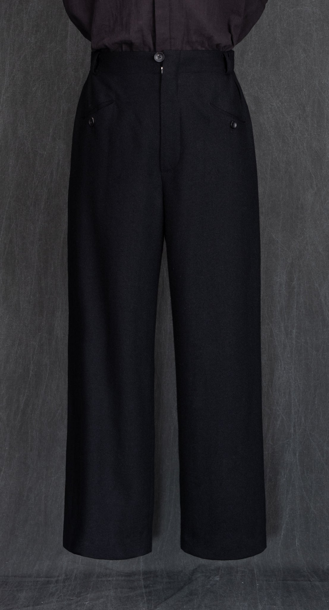 Deep Pleated Wide Wool Trousers BK