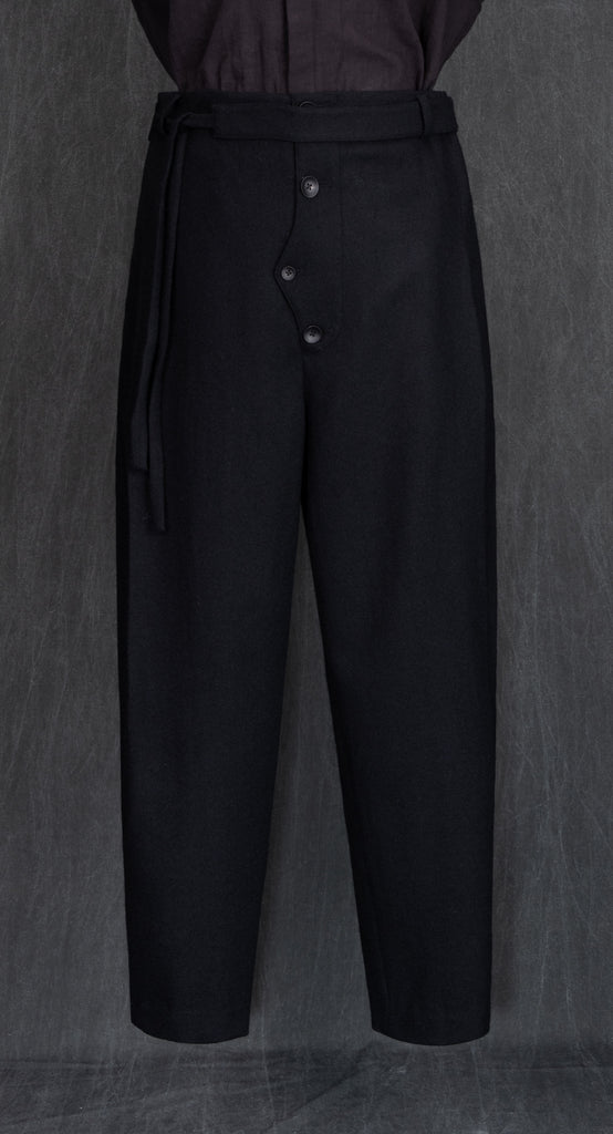 Oriental Double Pleated Wool Trousers BK