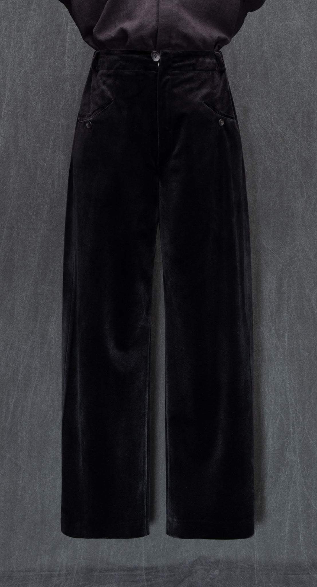 Deep Pleated Wide Velvet Trousers BK