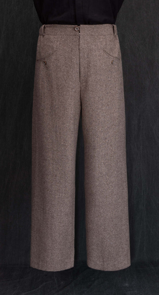 Deep Pleated Wide Wool Trousers BE