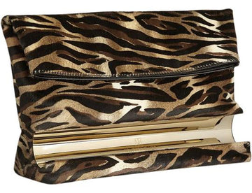 Tamara Mellon Medium Horizontal Dazzle Leopard Pony Hair Clutch