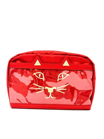 Charlotte Olympia Purrrfect Cosmetic Case in Red