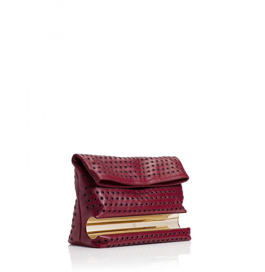 Tamara Mellon Grommet Dazzle Burgundy Leather Clutch
