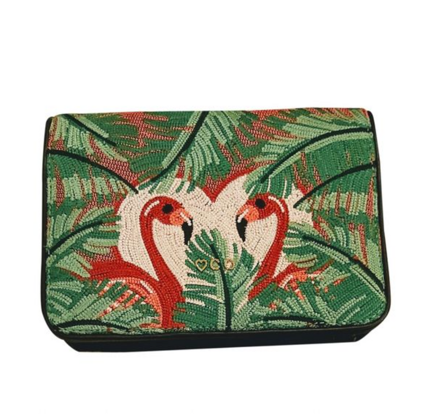Charlotte Olympia embroidered leather Flamingo belt bag
