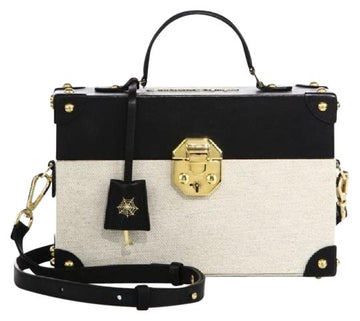 Charlotte Olympia Come Fly with Me Black Canvas and Leather Cross Body Bag