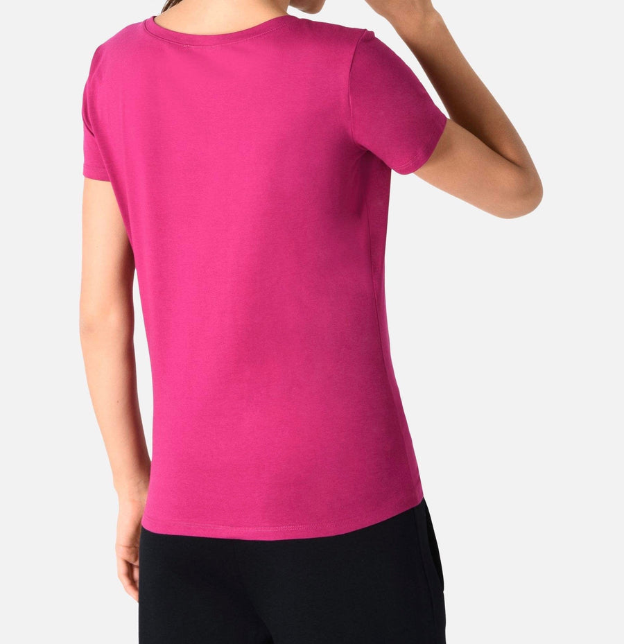 Emporio Armani Berry Logo Diamante Deep U neck T-Shirt