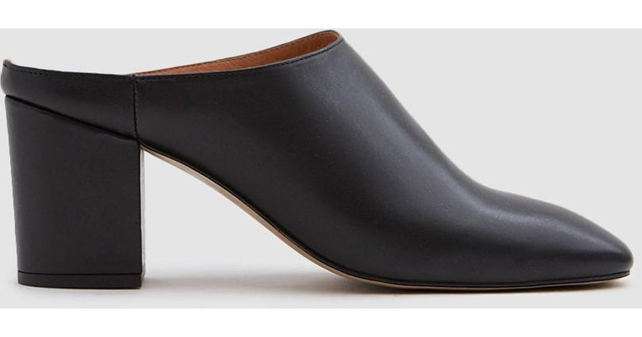 Intentionally Blank Circle Leather Mules  in Black