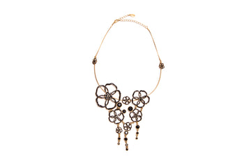 Capri Cascade Flowers Necklace in Black