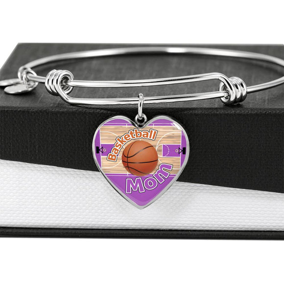 BASKETBALL MOM Heart Luxury Bangle - PURPLE [UNIQUE, LIMITED EDITION]