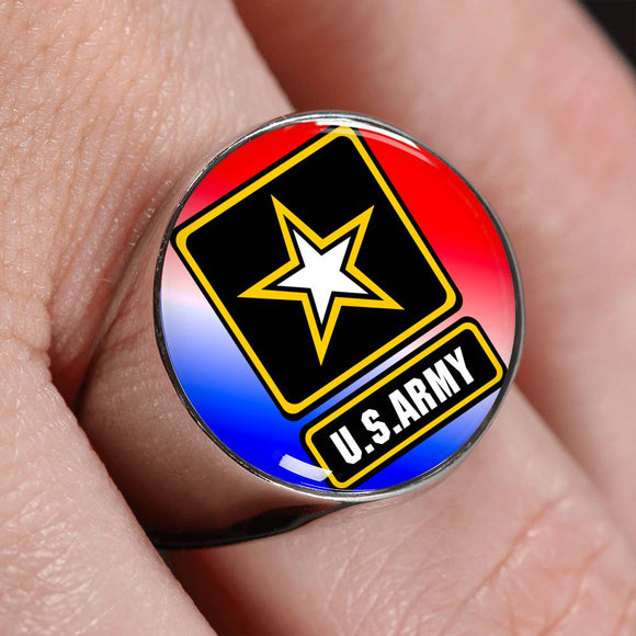Patriotic Army Logo Ring