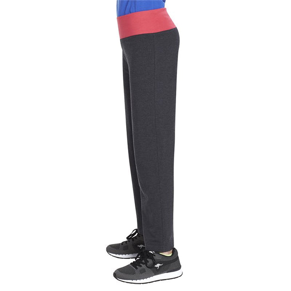Roll Top Loose Leg Girls Jersey Pants - Jet Black Marl