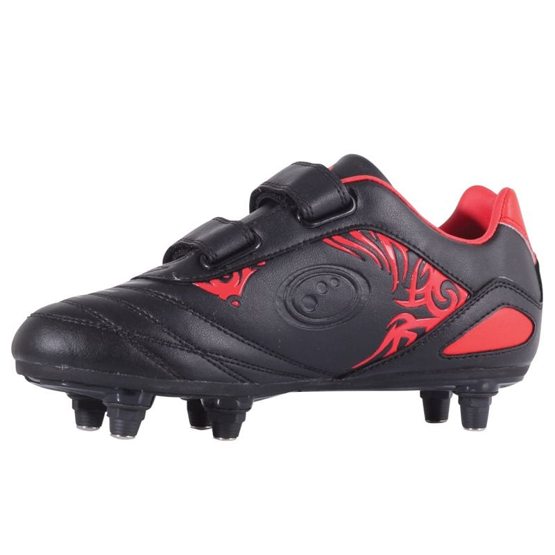 Kids Razor Velro SG Football Boots - Black/Red