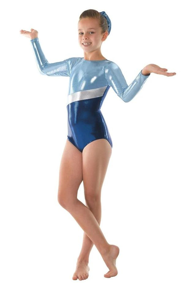 Tappers and Pointers Longsleeve Gym Leotard - Amazon/Powder Blue
