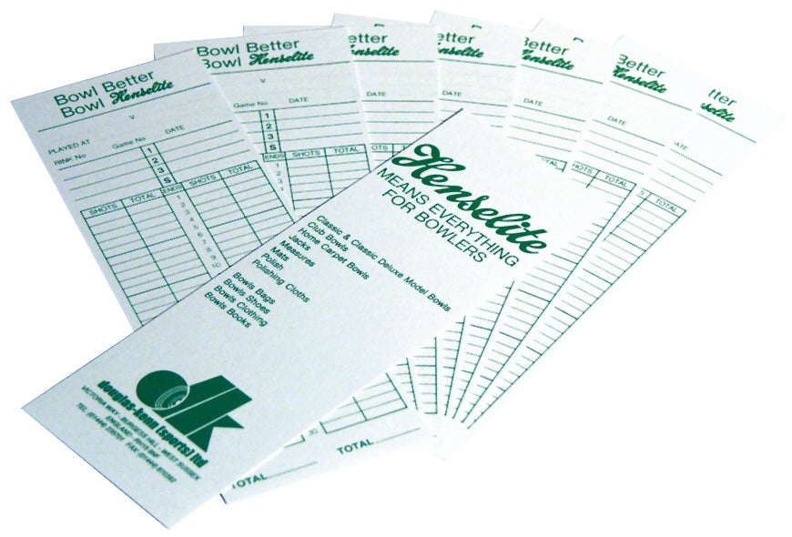 Henselite Bowls Score Cards (Pack of 100) -DS