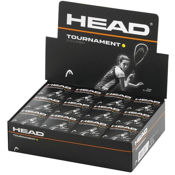 Head Tournament Squash Balls - Single Yellow Dot - Box of 12 -DS