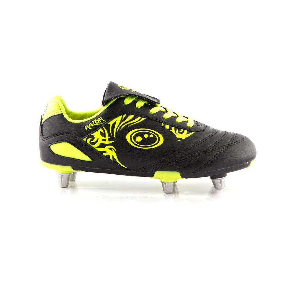 Kids Razor Rugby Boots - Black / Yellow