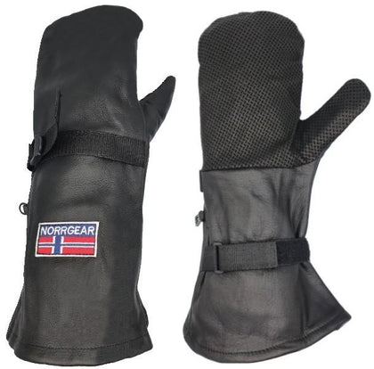 Leather outer over mitt shell ski glove thermal insulation