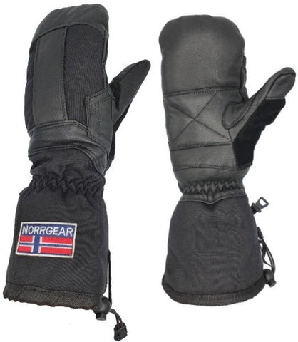Men's Ski Mitten Leather with Removable Liner - MONTANA - Norrgear best winter gloves snow mittens