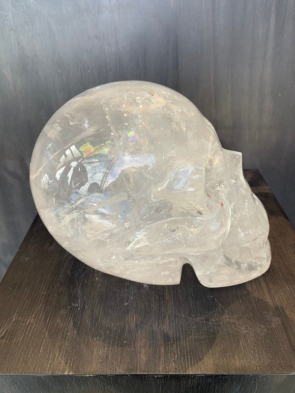 Large RARE Clear Crystal Skull with Natural Red & Yellow Inclusions