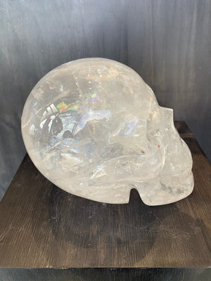 Load image into Gallery viewer, Large RARE Clear Crystal Skull with Natural Red & Yellow Inclusions